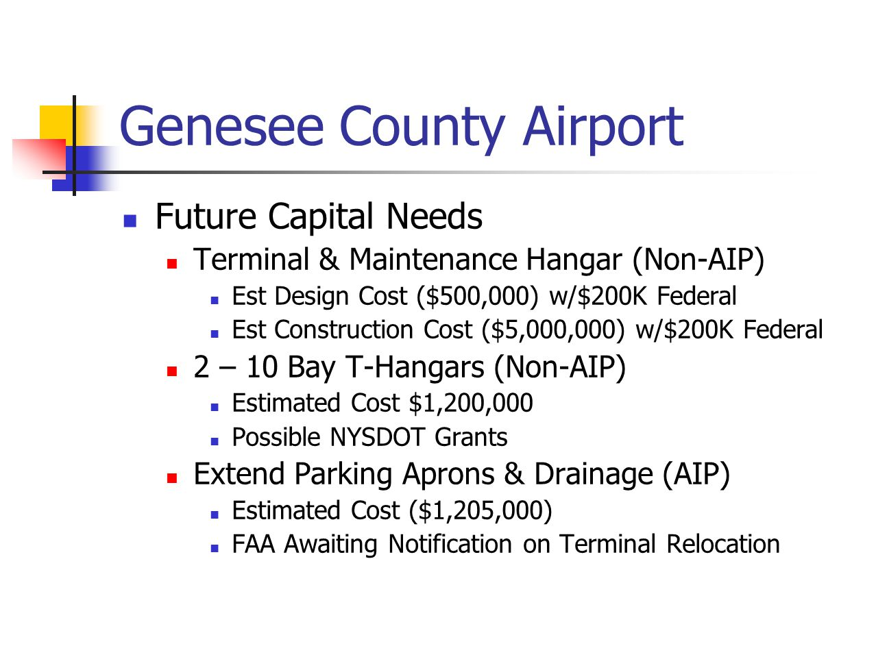 Genesee County Airport Future Capital Needs Terminal & Maintenance Hangar (Non-AIP) Est Design Cost ($500,000) w/$200K Federal Est Construction Cost ($5,000,000) w/$200K Federal 2 – 10 Bay T-Hangars (Non-AIP) Estimated Cost $1,200,000 Possible NYSDOT Grants Extend Parking Aprons & Drainage (AIP) Estimated Cost ($1,205,000) FAA Awaiting Notification on Terminal Relocation