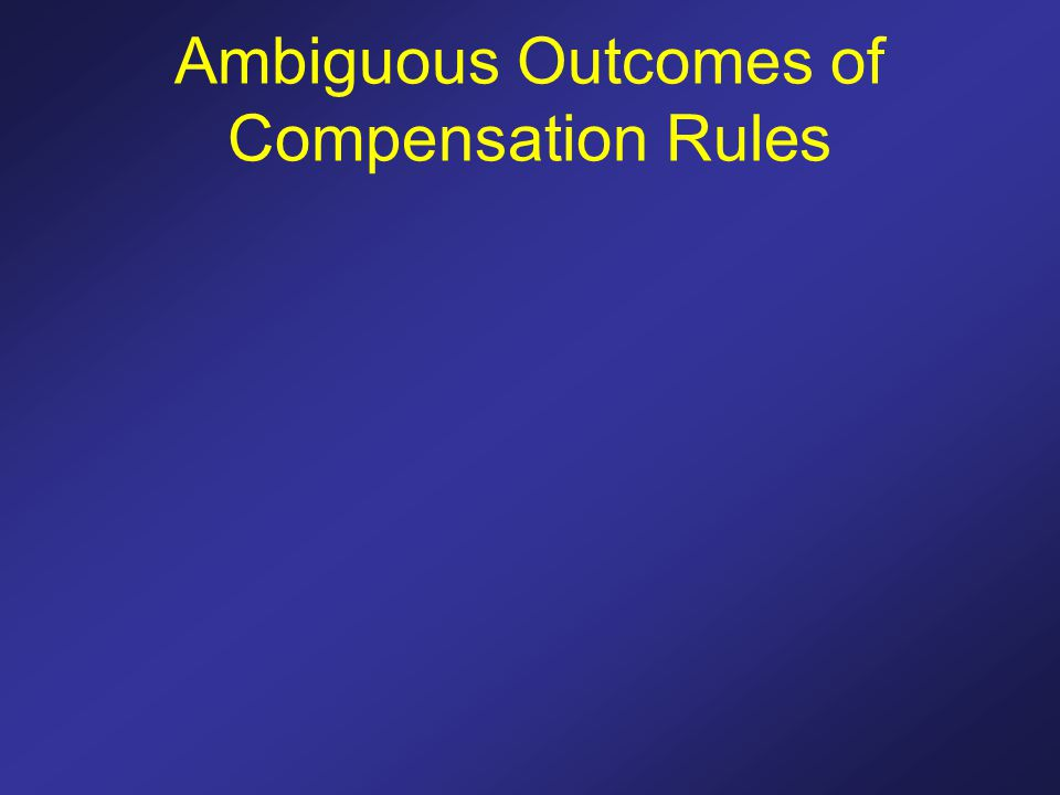 Ambiguous Outcomes of Compensation Rules