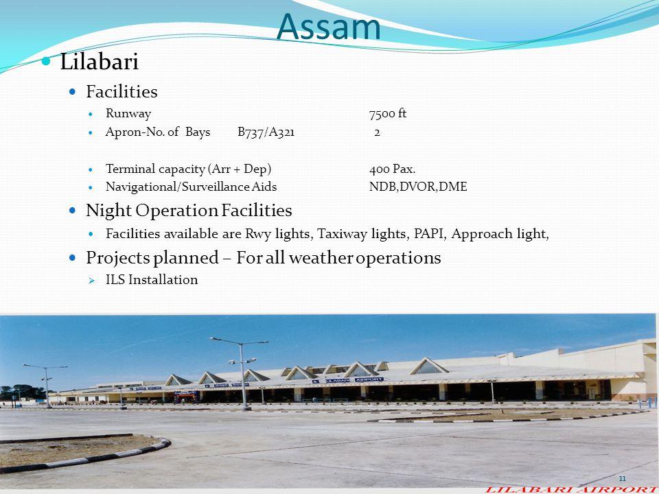 Assam Lilabari Facilities Runway7500 ft Apron-No. of Bays B737/A321 2 Terminal capacity (Arr + Dep) 400 Pax. Navigational/Surveillance AidsNDB,DVOR,DM