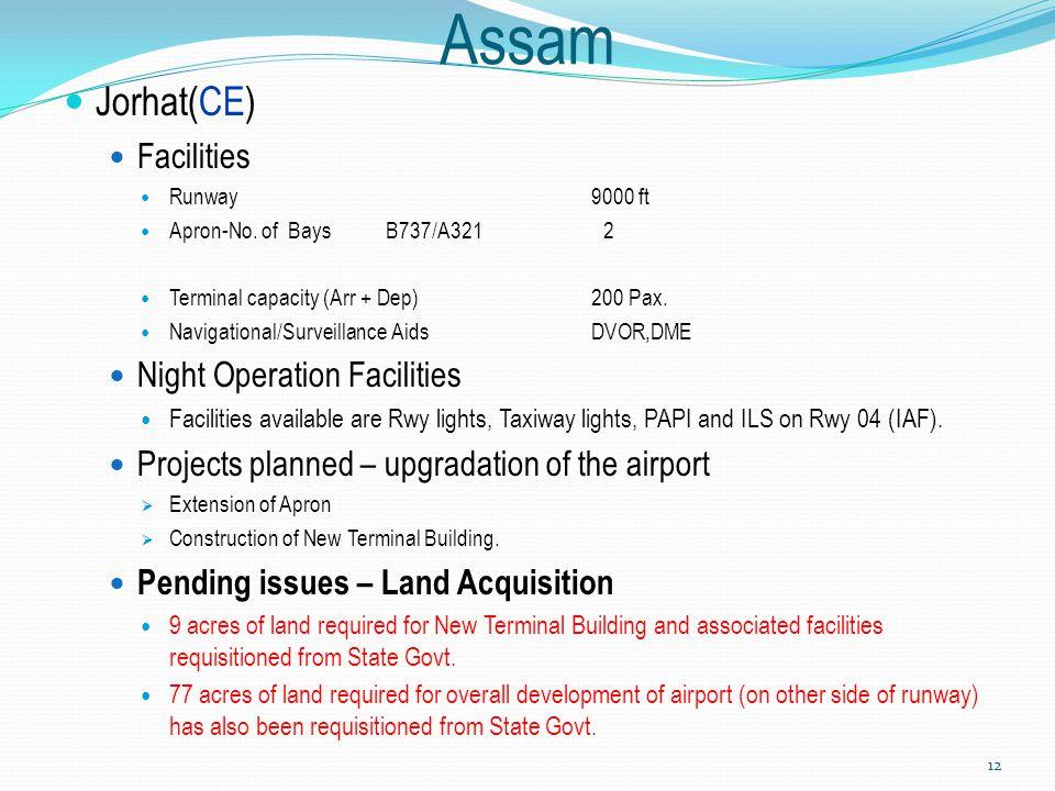 Assam Jorhat(CE) Facilities Runway9000 ft Apron-No. of Bays B737/A321 2 Terminal capacity (Arr + Dep)200 Pax. Navigational/Surveillance AidsDVOR,DME N