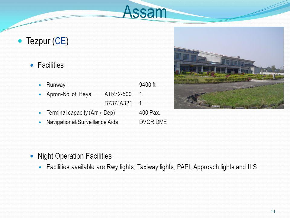 Assam Tezpur (CE) Facilities Runway 9400 ft Apron-No. of Bays ATR72-500 1 B737/ A321 1 Terminal capacity (Arr + Dep) 400 Pax. Navigational/Surveillanc