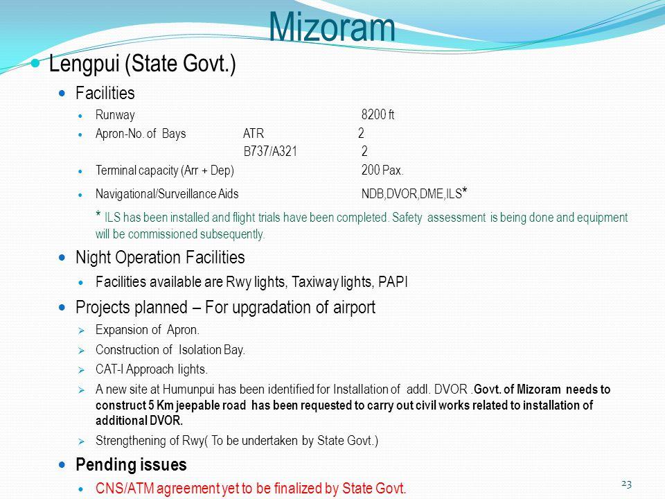 Mizoram Lengpui (State Govt.) Facilities Runway8200 ft Apron-No. of Bays ATR 2 B737/A321 2 Terminal capacity (Arr + Dep)200 Pax. Navigational/Surveill
