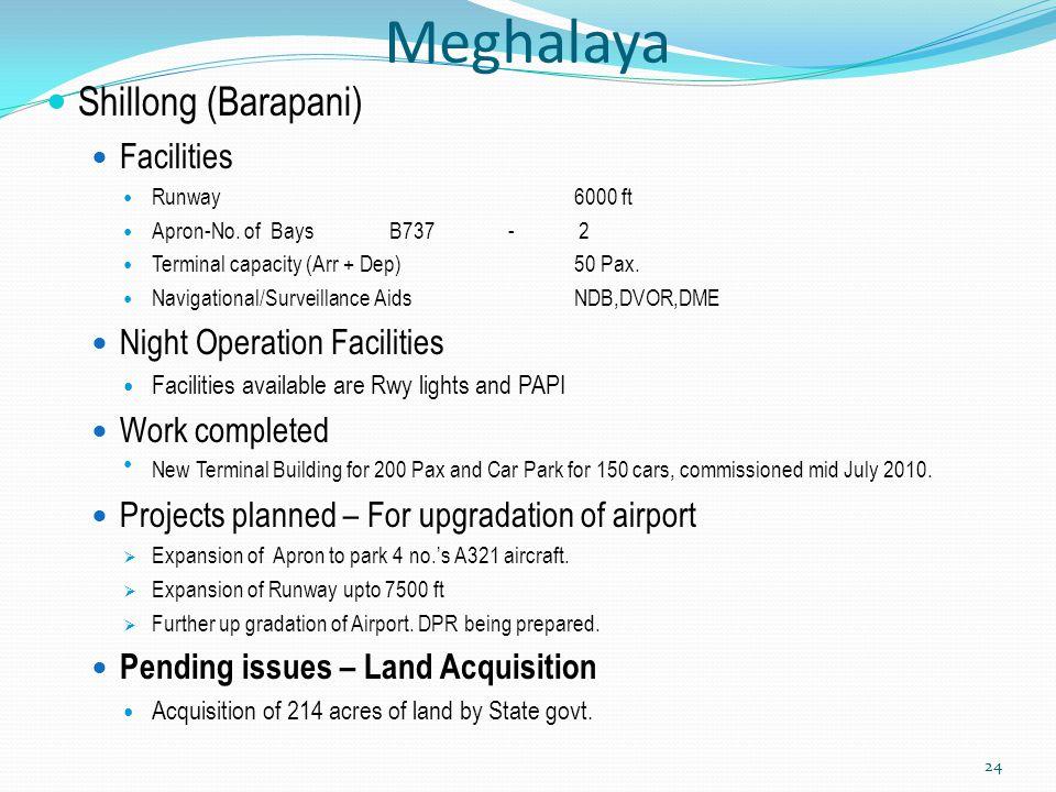 Meghalaya Shillong (Barapani) Facilities Runway6000 ft Apron-No. of Bays B737 - 2 Terminal capacity (Arr + Dep) 50 Pax. Navigational/Surveillance Aids