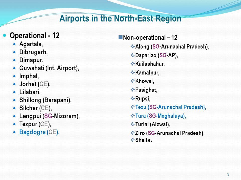 Airports in the North-East Region Operational - 12 Agartala, Dibrugarh, Dimapur, Guwahati (Int. Airport), Imphal, Jorhat (CE), Lilabari, Shillong (Bar