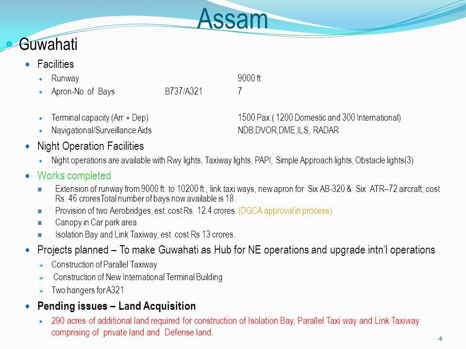 Assam Guwahati Facilities Runway9000 ft Apron-No. of Bays B737/A3217 Terminal capacity (Arr + Dep) 1500 Pax.( 1200 Domestic and 300 International) Nav
