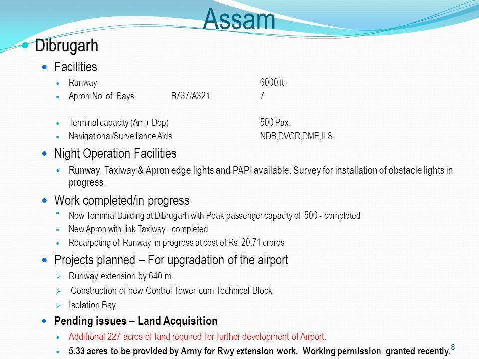 Assam Dibrugarh Facilities Runway6000 ft Apron-No. of Bays B737/A321 7 Terminal capacity (Arr + Dep) 500 Pax. Navigational/Surveillance AidsNDB,DVOR,D