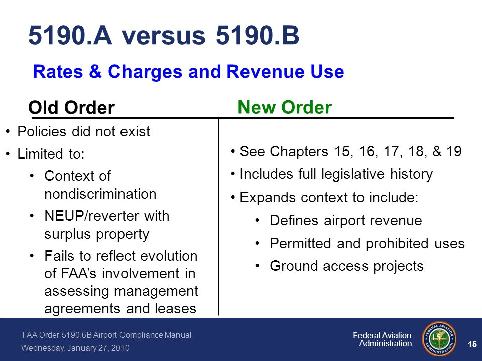 FAA Order 5190.6B Airport Compliance Manual Wednesday, January 27, 2010 15 Federal Aviation Administration 15 5190.A versus 5190.B Policies did not ex