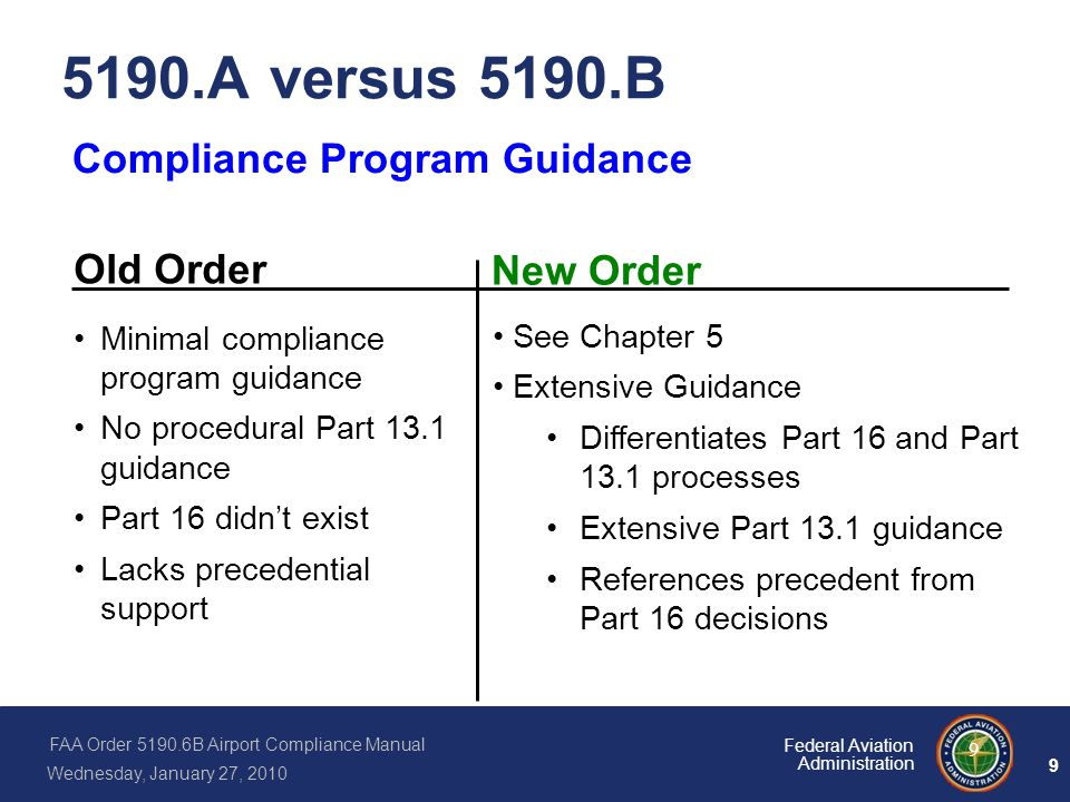 FAA Order 5190.6B Airport Compliance Manual Wednesday, January 27, 2010 9 Federal Aviation Administration 9 5190.A versus 5190.B Compliance Program Gu