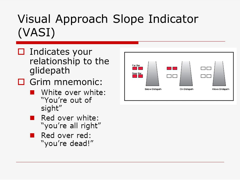 Visual Approach Slope Indicator (VASI) Indicates your relationship to the glidepath Grim mnemonic: White over white: Youre out of sight Red over white