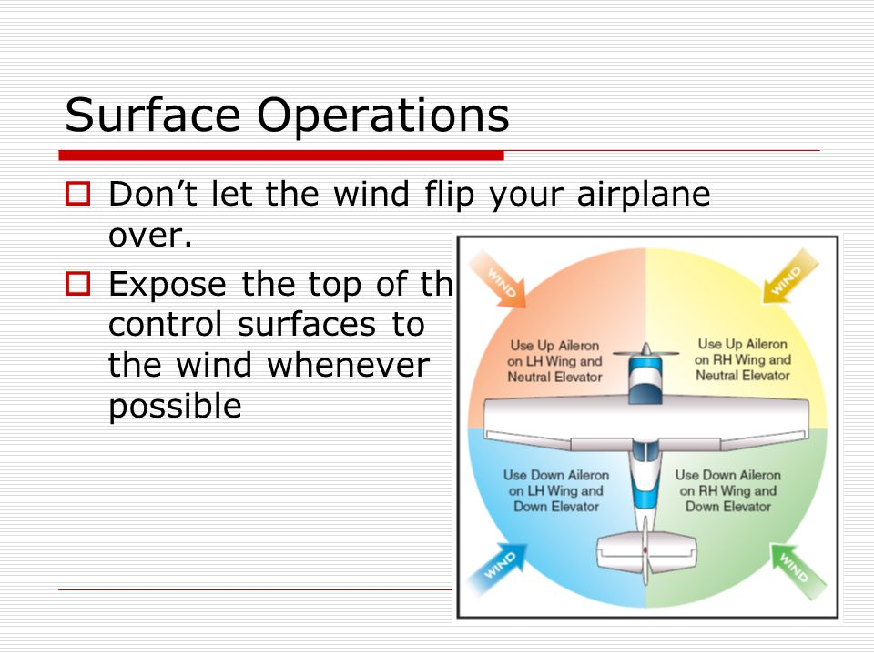 Surface Operations Dont let the wind flip your airplane over. Expose the top of the control surfaces to the wind whenever possible