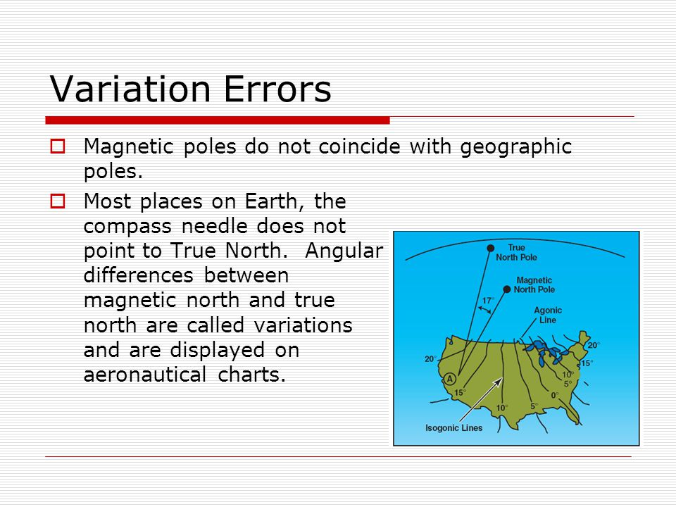 Variation Errors Magnetic poles do not coincide with geographic poles. Most places on Earth, the compass needle does not point to True North. Angular