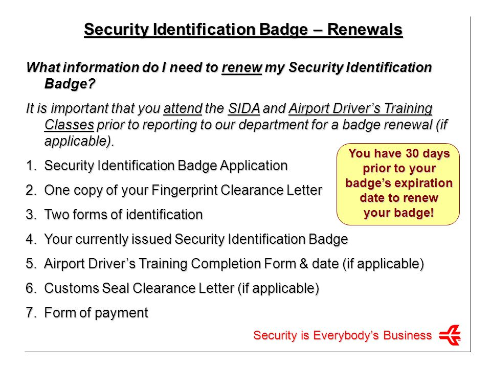 Security is Everybodys Business Badge Returns Please complete the form below to return/deactivate all badges: TO:HARTSFIELD-JACKSON ATLANTA INTERNATIONAL AIRPORT DEPT.