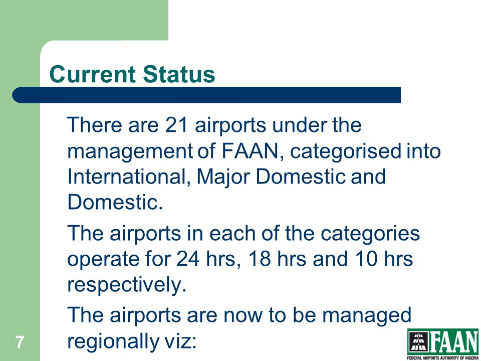 Current Status There are 21 airports under the management of FAAN, categorised into International, Major Domestic and Domestic. The airports in each o
