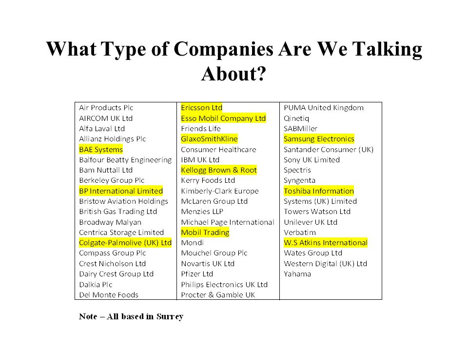 What Type of Companies Are We Talking About?