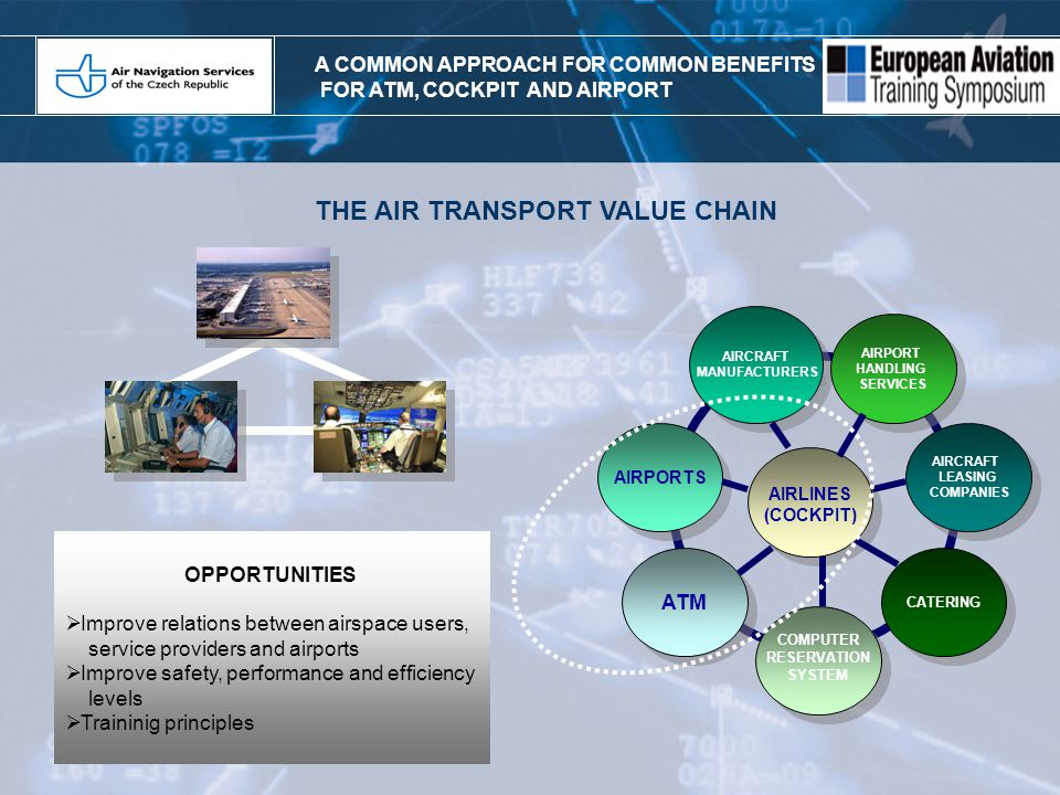 ANS CR as a reliable and predictable part of the Czech civil aviation, actively supporting its further dynamic development and at the same time proactive member of the European integration and liberalization processes in the ATM area, with the aim to increase the overall value and competitive strenght.