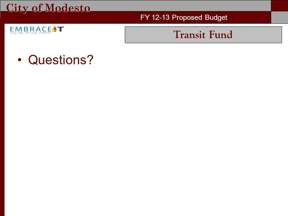 City of Modesto FY 12-13 Proposed Budget Questions? FY 12-13 Proposed Budget Transit Fund
