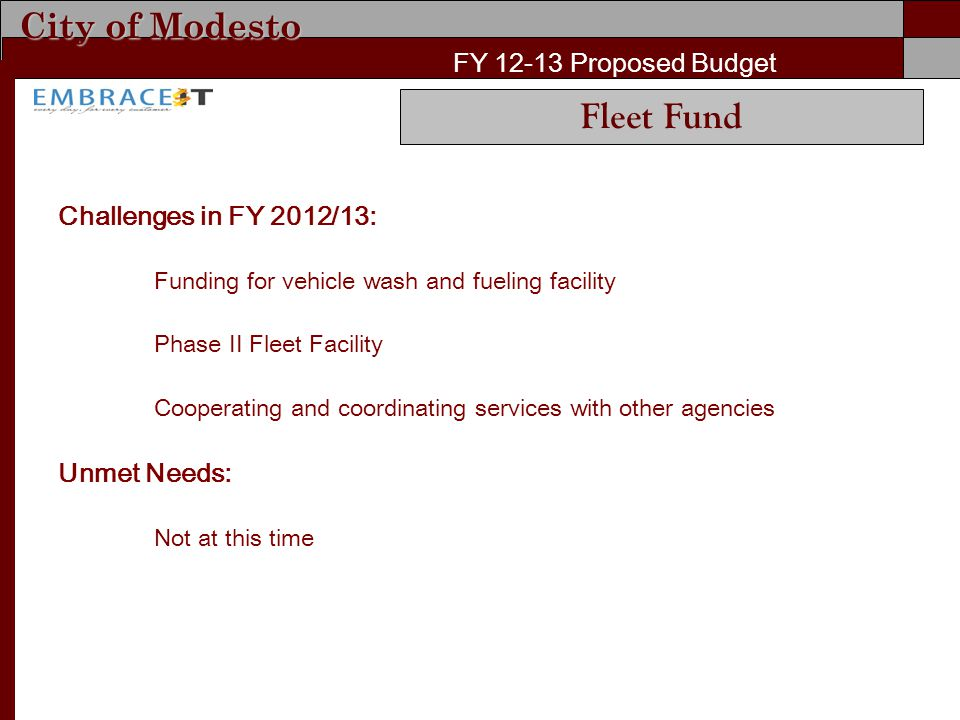 City of Modesto FY Proposed Budget Challenges in FY 2012/13: Funding for vehicle wash and fueling facility Phase II Fleet Facility Cooperating and coordinating services with other agencies Unmet Needs: Not at this time Fleet Fund