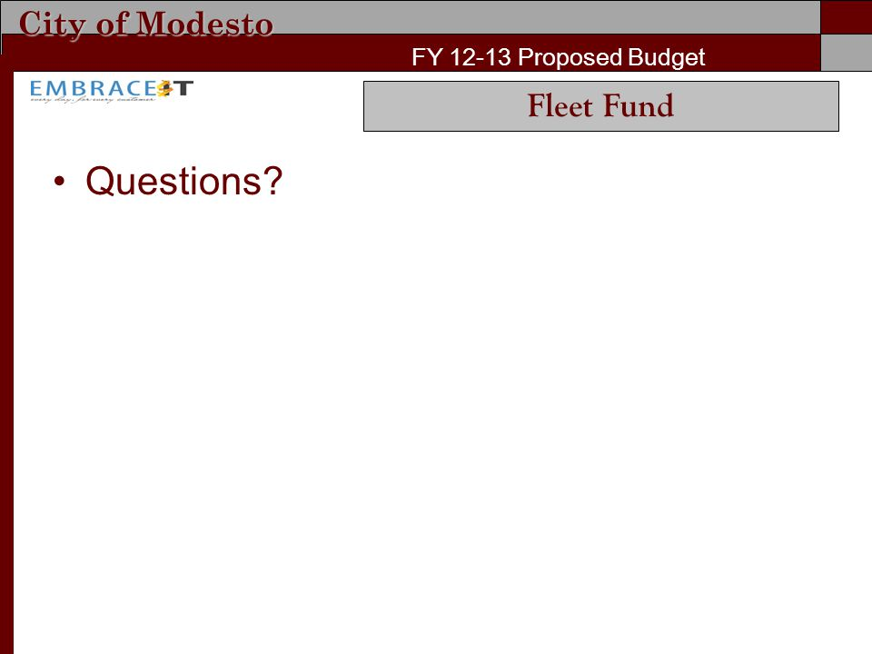 City of Modesto FY 12-13 Proposed Budget Questions? Fleet Fund
