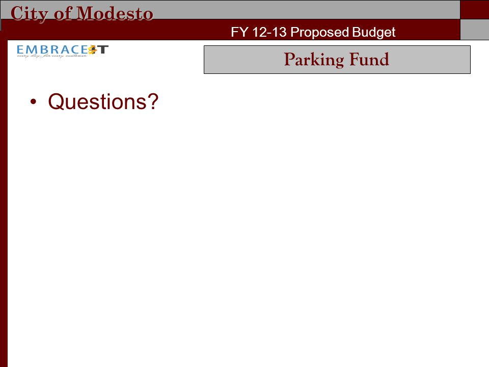 City of Modesto FY 12-13 Proposed Budget Questions? Parking Fund