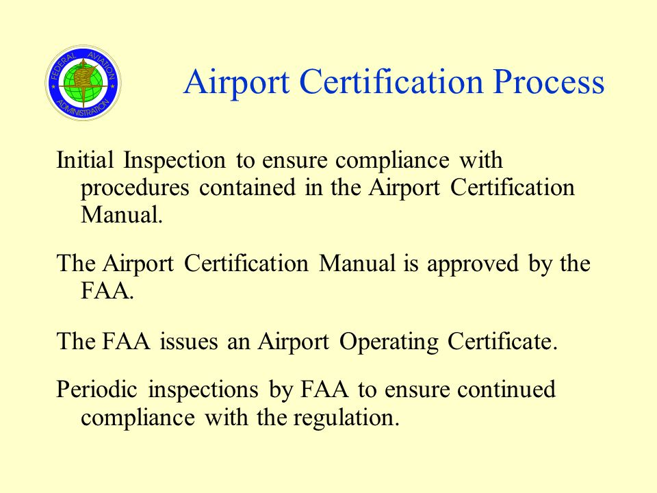 Airport Certification Process Initial Inspection to ensure compliance with procedures contained in the Airport Certification Manual.