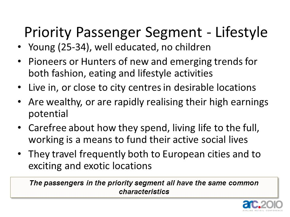 Priority Passenger Segment - Lifestyle Young (25-34), well educated, no children Pioneers or Hunters of new and emerging trends for both fashion, eati