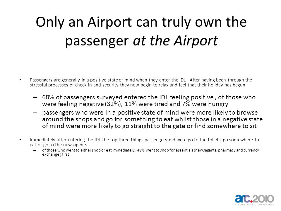 Only an Airport can truly own the passenger at the Airport Passengers are generally in a positive state of mind when they enter the IDL.