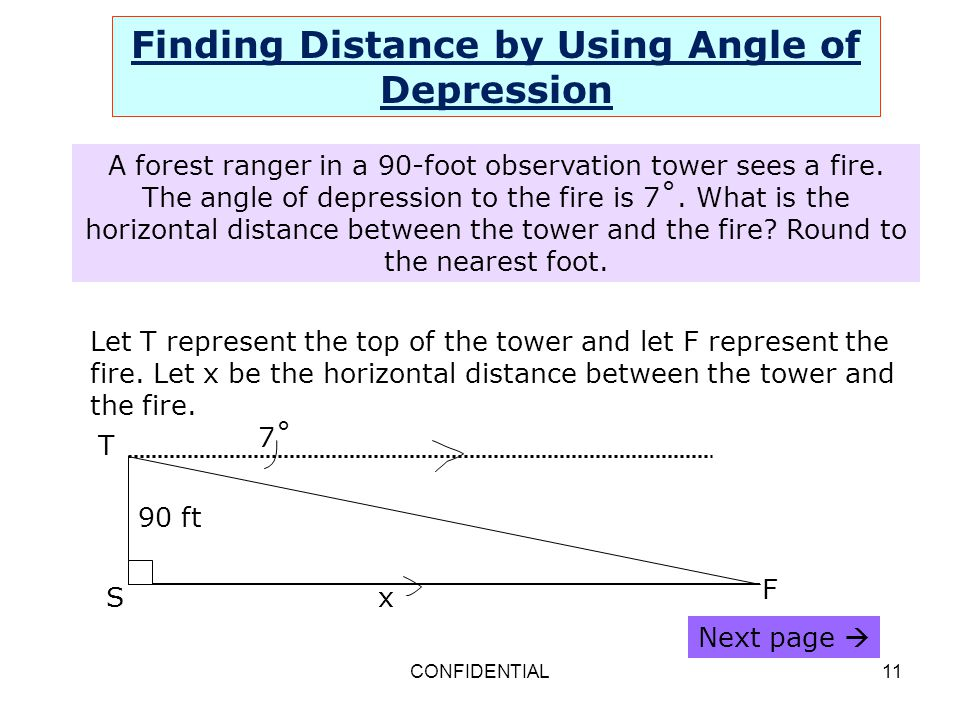 CONFIDENTIAL11 Finding Distance by Using Angle of Depression A forest ranger in a 90-foot observation tower sees a fire. The angle of depression to th