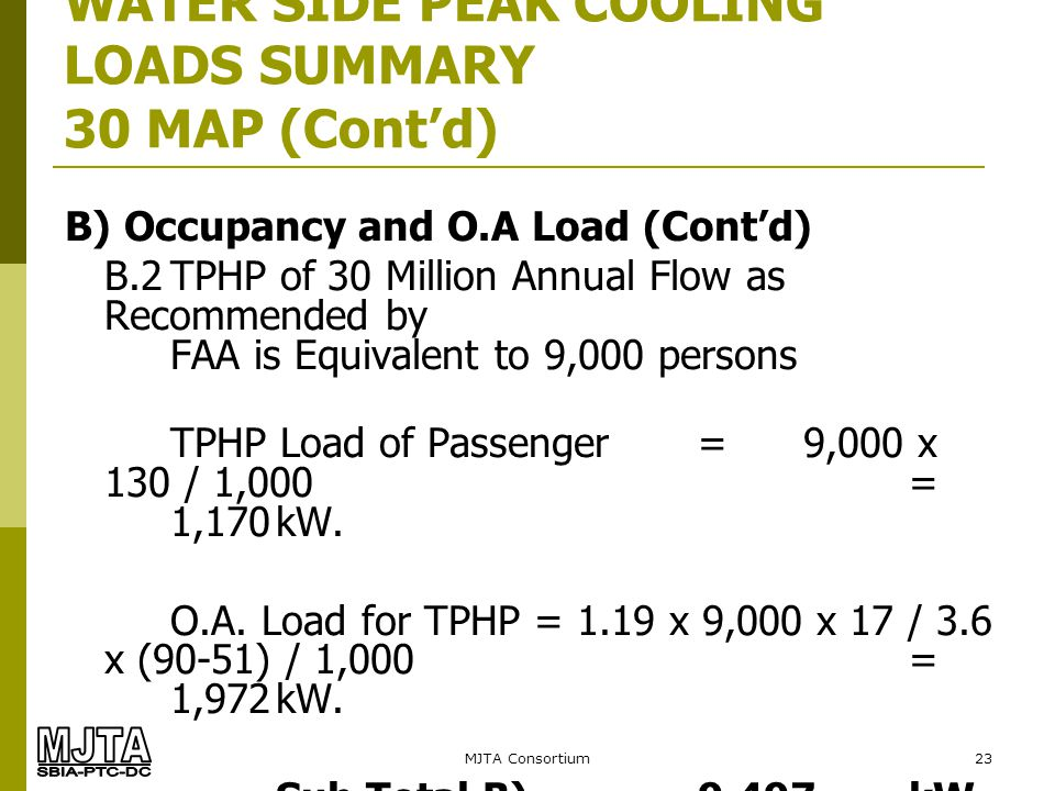 MJTA Consortium23 WATER SIDE PEAK COOLING LOADS SUMMARY 30 MAP (Contd) B) Occupancy and O.A Load (Contd) B.2TPHP of 30 Million Annual Flow as Recommen