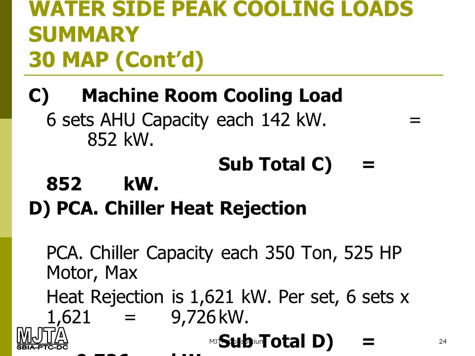 MJTA Consortium24 WATER SIDE PEAK COOLING LOADS SUMMARY 30 MAP (Contd) C) Machine Room Cooling Load 6 sets AHU Capacity each 142 kW.= 852kW. Sub Total