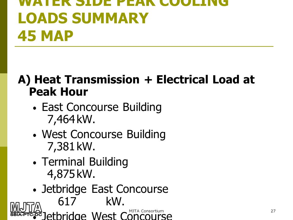MJTA Consortium27 WATER SIDE PEAK COOLING LOADS SUMMARY 45 MAP A) Heat Transmission + Electrical Load at Peak Hour East Concourse Building 7,464kW. We