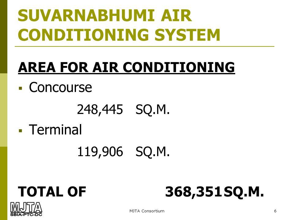MJTA Consortium17 Design Criteria Total Cooling Capacity 41,666 KW=11,850 Tons (30 MAP) 43,238 KW =12,297 Tons (45 MAP) SUVARNABHUMI AIR CONDITIONING SYSTEM