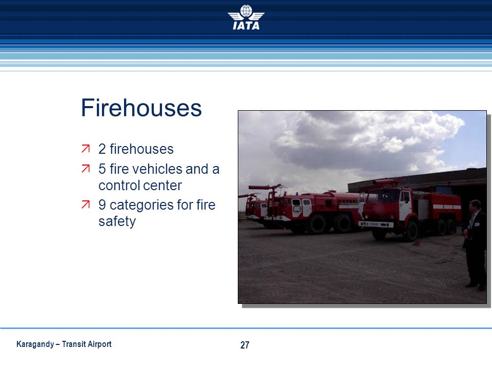 Karagandy – Transit Airport 27 Firehouses 2 firehouses 5 fire vehicles and a control center 9 categories for fire safety