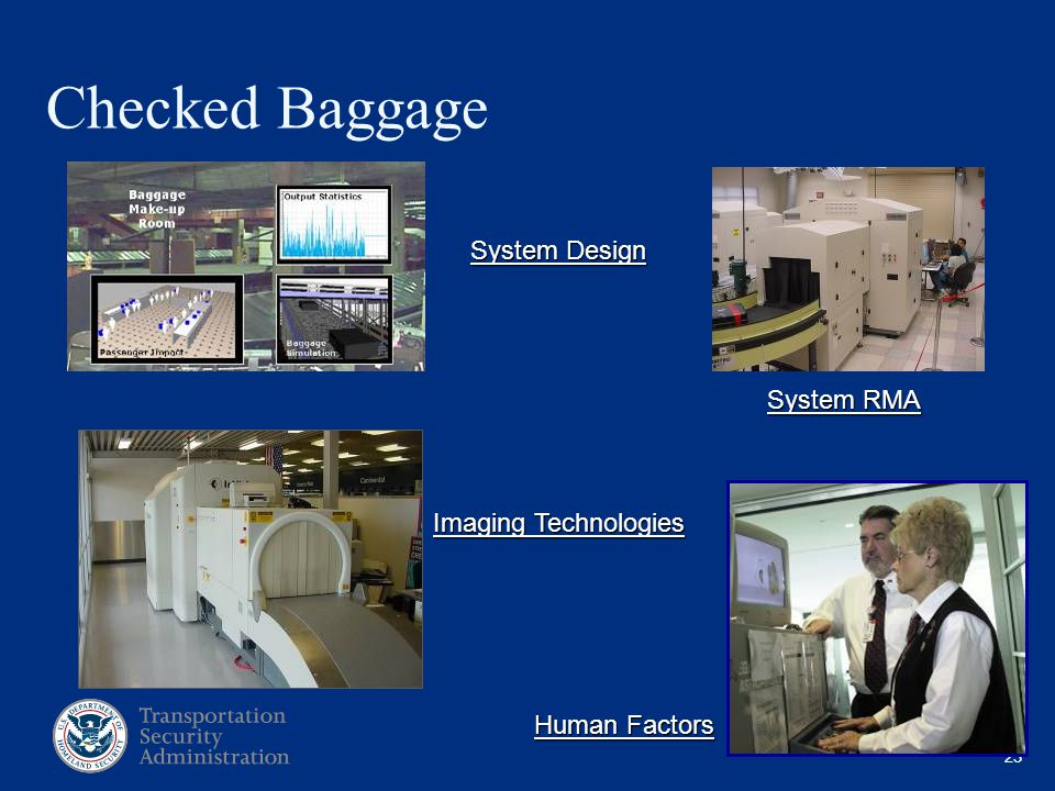 23 Checked Baggage System Design System RMA Imaging Technologies Human Factors