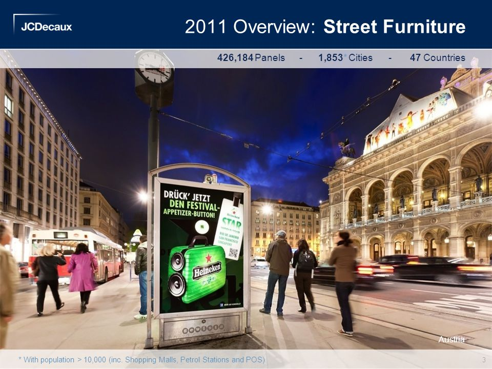 Austria 2011 Overview: Street Furniture 426,184 Panels - 1,853* Cities - 47 Countries * With population > 10,000 (inc. Shopping Malls, Petrol Stations