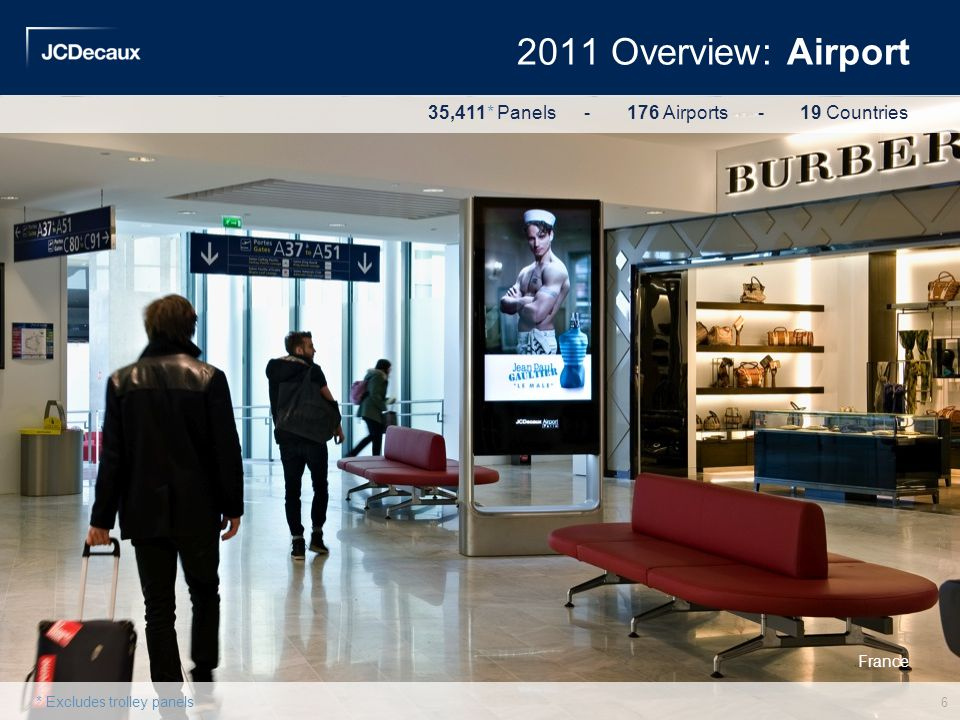 USA China 2011 Overview: Airport France 6 * Excludes trolley panels 35,411* Panels - 176 Airports - 19 Countries