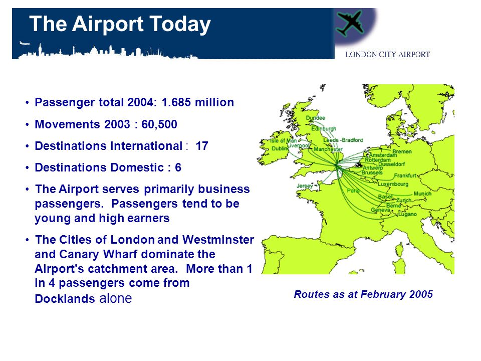 Passenger total 2004: 1.685 million Movements 2003 : 60,500 Destinations International : 17 Destinations Domestic : 6 The Airport serves primarily business passengers.