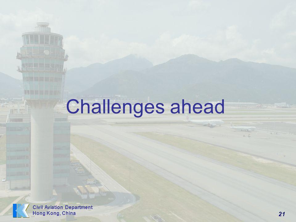21 Civil Aviation Department Hong Kong, China Challenges ahead