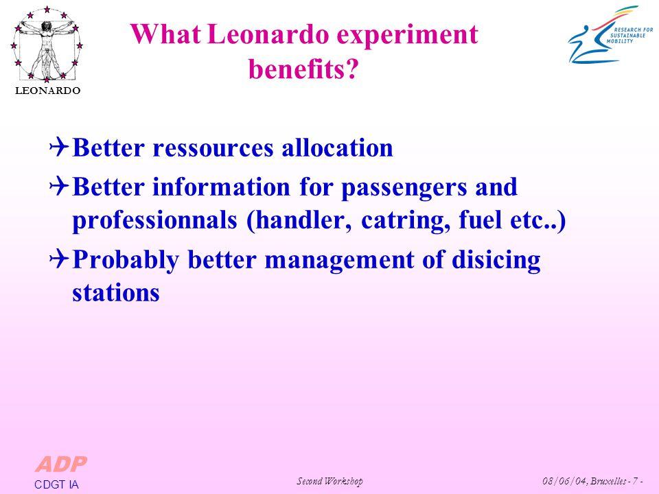 Second Workshop 08/06/04, Bruxelles - 7 - LEONARDO ADP CDGT IA What Leonardo experiment benefits.