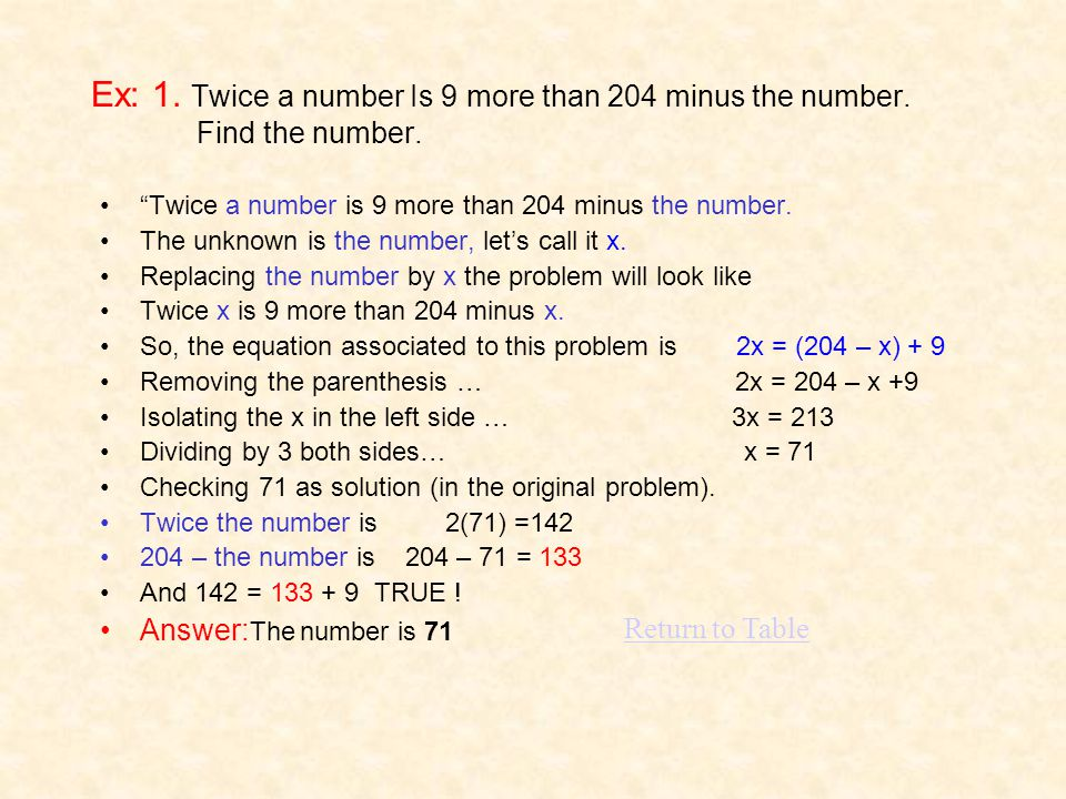 Ex: 1. Twice a number Is 9 more than 204 minus the number. Find the number. Twice a number is 9 more than 204 minus the number. The unknown is the num