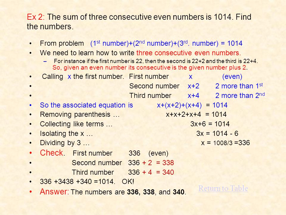 Ex 2: The sum of three consecutive even numbers is 1014.