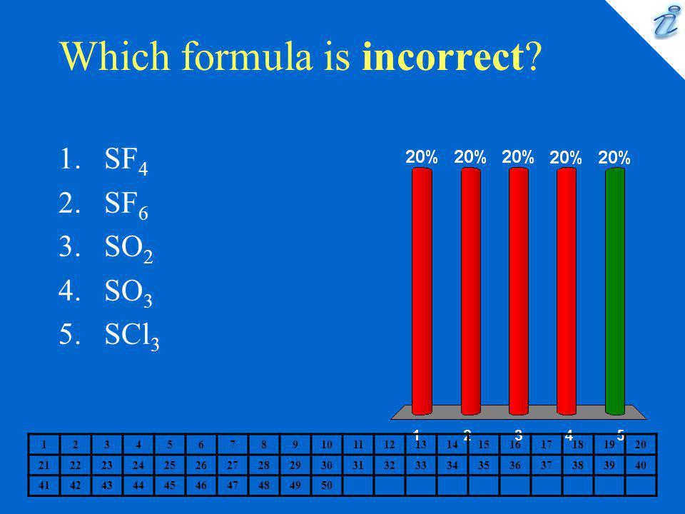Which formula is incorrect? 1234567891011121314151617181920 2122232425262728293031323334353637383940 41424344454647484950 1.SF 4 2.SF 6 3.SO 2 4.SO 3