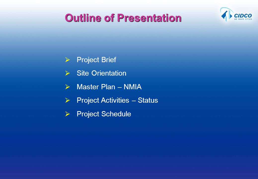 Project Brief Site Orientation Master Plan – NMIA Project Activities – Status Project Schedule Outline of Presentation