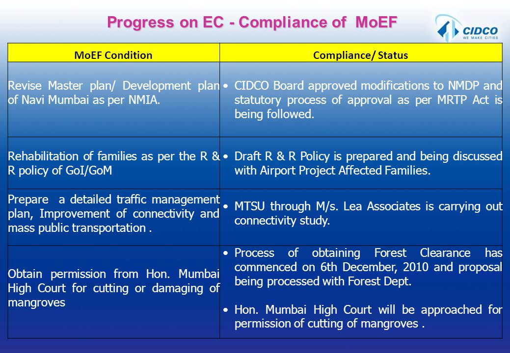 Progress on EC - Compliance of MoEF MoEF ConditionCompliance/ Status Revise Master plan/ Development plan of Navi Mumbai as per NMIA. CIDCO Board appr