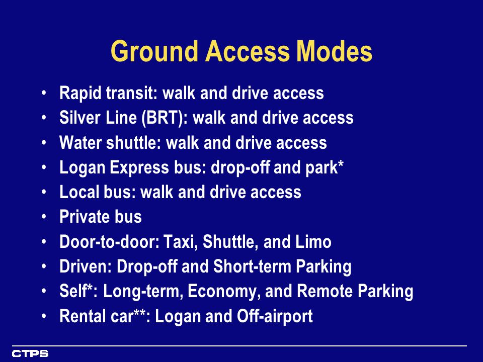 Ground Access Modes Rapid transit: walk and drive access Silver Line (BRT): walk and drive access Water shuttle: walk and drive access Logan Express bus: drop-off and park* Local bus: walk and drive access Private bus Door-to-door: Taxi, Shuttle, and Limo Driven: Drop-off and Short-term Parking Self*: Long-term, Economy, and Remote Parking Rental car**: Logan and Off-airport