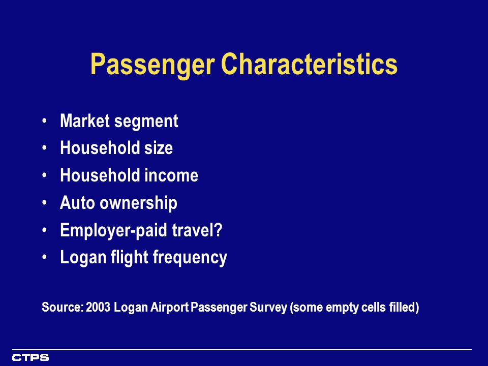 Passenger Characteristics Market segment Household size Household income Auto ownership Employer-paid travel.