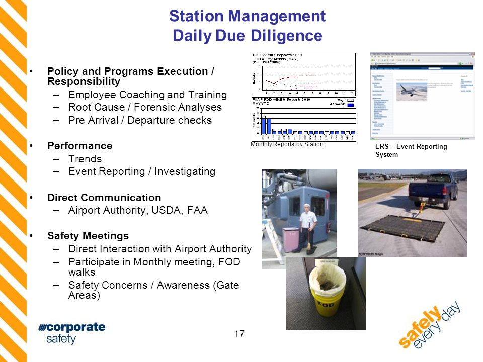 17 Station Management Daily Due Diligence Policy and Programs Execution / Responsibility –Employee Coaching and Training –Root Cause / Forensic Analyses –Pre Arrival / Departure checks Performance –Trends –Event Reporting / Investigating Direct Communication –Airport Authority, USDA, FAA Safety Meetings –Direct Interaction with Airport Authority –Participate in Monthly meeting, FOD walks –Safety Concerns / Awareness (Gate Areas) ERS – Event Reporting System Monthly Reports by Station