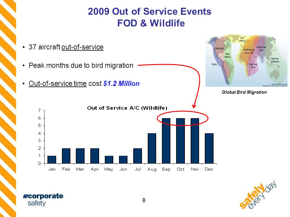 8 2009 Out of Service Events FOD & Wildlife 37 aircraft out-of-service Peak months due to bird migration Out-of-service time cost $1.2 Million Global Bird Migration