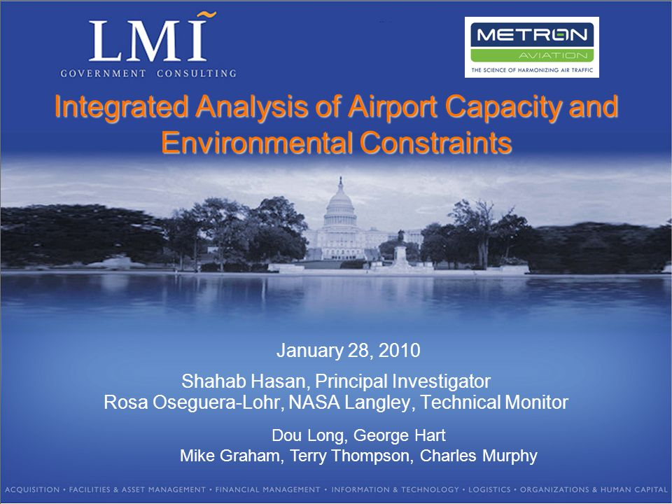 Shahab Hasan, Principal Investigator Rosa Oseguera-Lohr, NASA Langley, Technical Monitor Dou Long, George Hart Mike Graham, Terry Thompson, Charles Murphy January 28, 2010 Integrated Analysis of Airport Capacity and Environmental Constraints