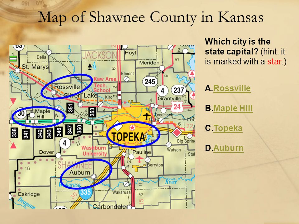 Map of Shawnee County in Kansas Which city is the state capital.