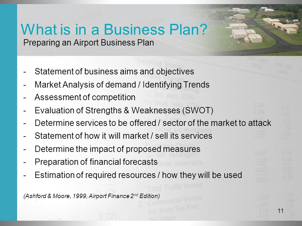 11 What is in a Business Plan.